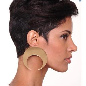 Gold Moon Shape Round Earrings